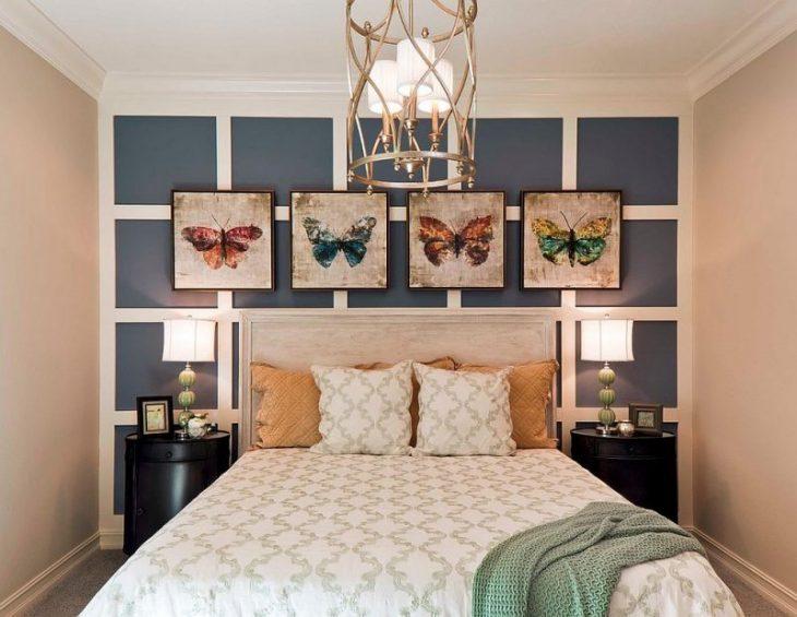 как оформить стену в спальне над кроватью