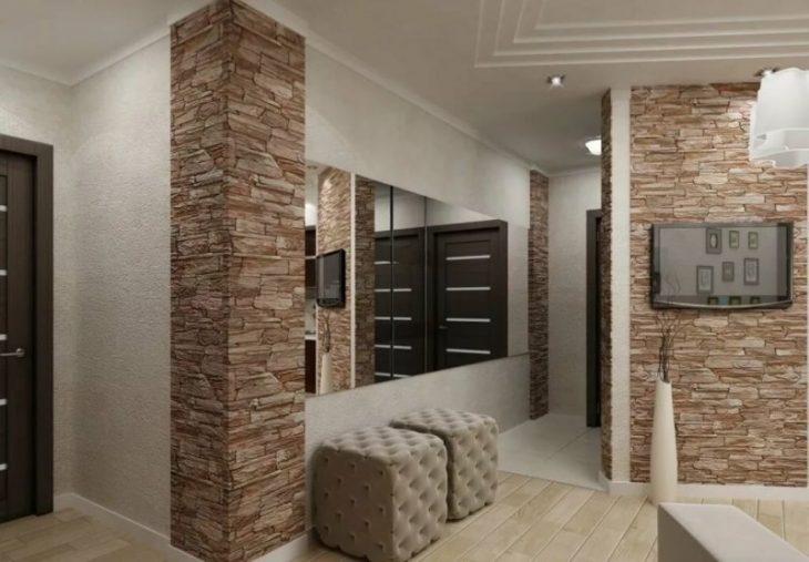 отделка квартиры декоративным камнем фото
