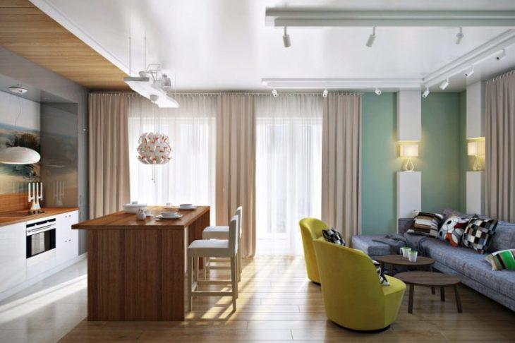 кухня гостиная планировка дизайн