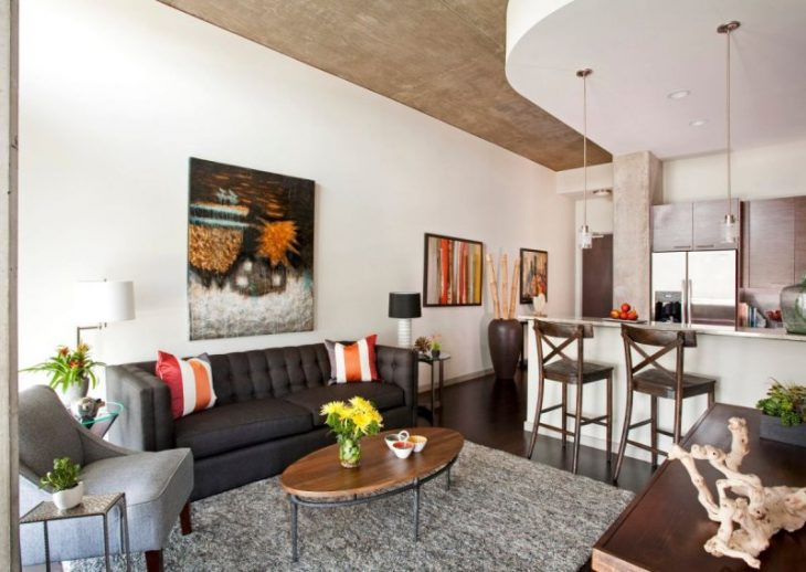 квадратная кухня гостиная дизайн