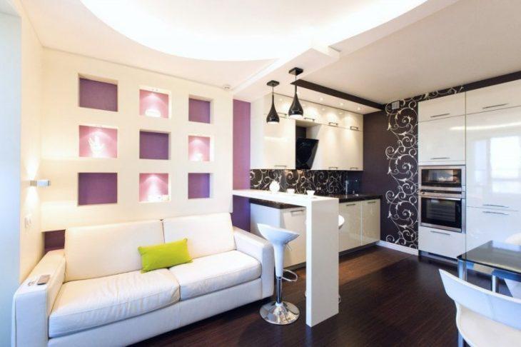 дизайн гостиной с кухней в квартире