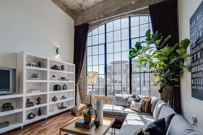 лофт высокие потолки