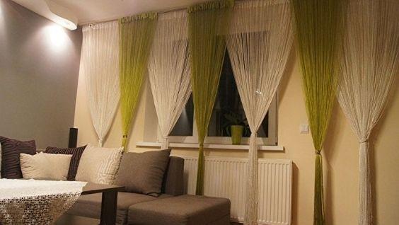 Нитяные шторы в интерьере гостиной фото, варианты применения