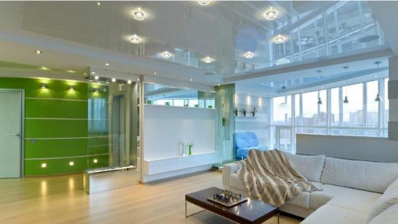 Расположения точечных светильников на натяжном потолке